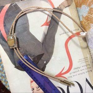 Vintage Accessories - Vintage Real Stone Dome Bolo Tie